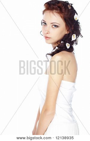 Close-up portrait of young beautiful bride isolated on white