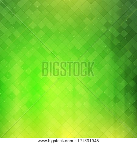 Green checkered background. Vector illustration