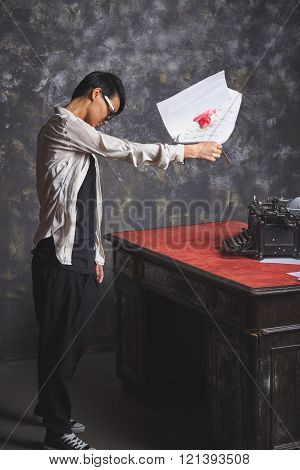 Young Stylish Woman Writer, Creative Process, Throwing Her Work, Papers