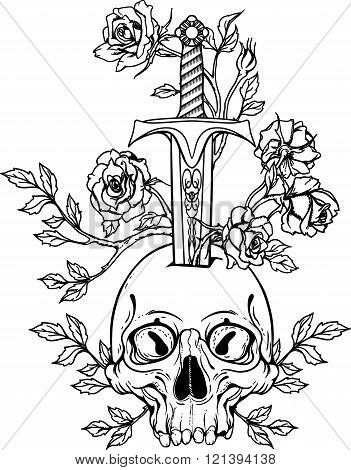 illustration with skull stabbed by sword