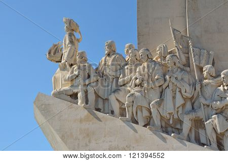 Close up of the Monument to the Discoveries Lisbon Portugal.