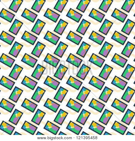 Vector Seamless Pattern with Repeating Smart Phones
