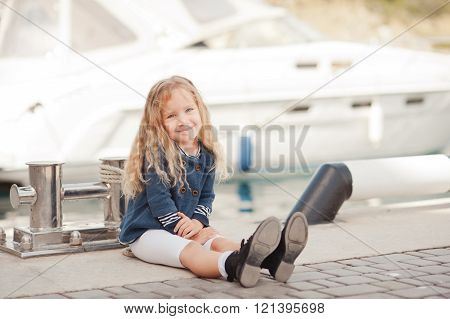 Smiling child girl outdoors