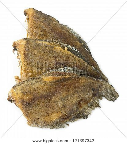 Asian Food and Cuisine Oriental Food Deep Fried Gourami Fish or Snakesskin Fish Isolated on A White Background.