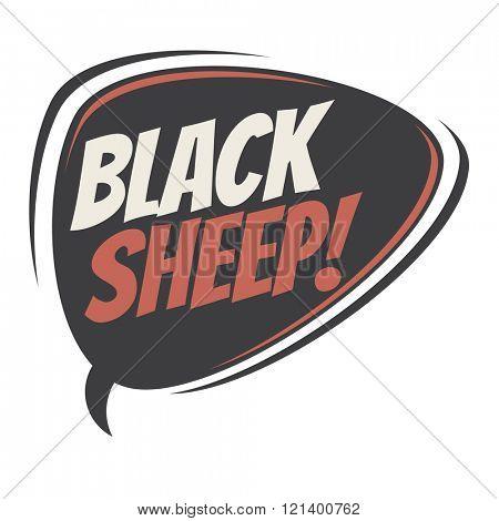 black sheep retro speech balloon