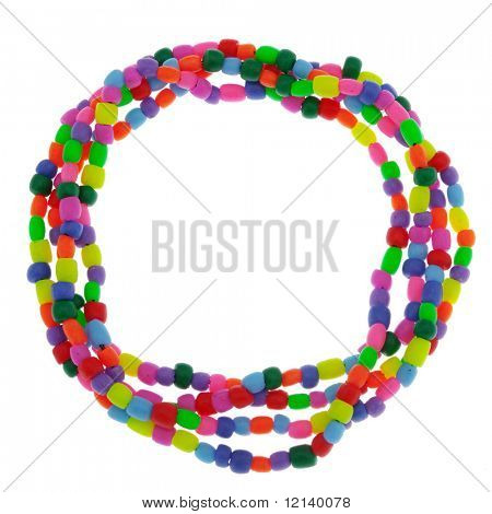 Handmade plastic bijouterie isolated on white