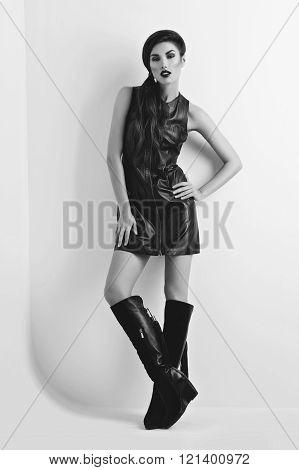 Girl in fancy leather dress