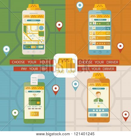 Vector Illustration Of Taxi Application, Online Taxi Service