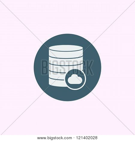 Database-cloud Icon, On Blue Circle Background, White Outline