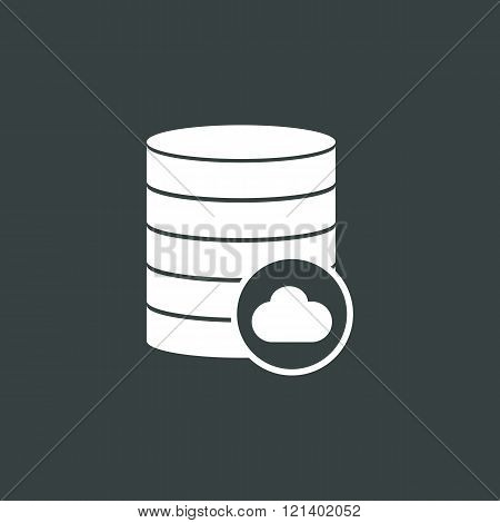 Database-cloud Icon, On Dark Background, White Outline, Large Size Symbol