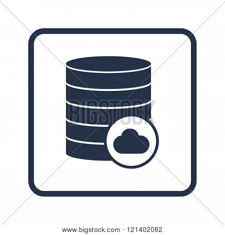 Database-cloud Icon, On White Background, Rounded Rectangle Border, Blue Outline