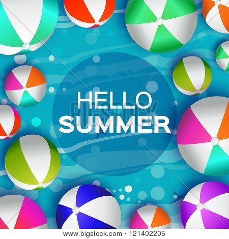 Realistic Colorful Beach Balls - Rubber or Plastic Material. Background with Hello Summer Title and Circle Frame in center. Vector Illustration