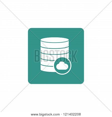 Database-cloud Icon, On Green Rectangle Background, White Outline