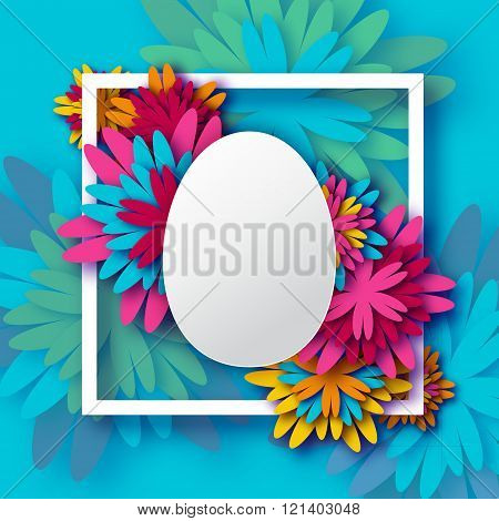 Abstract Colorful Floral Greeting card - Happy Easter Day - Spring Easter Egg.