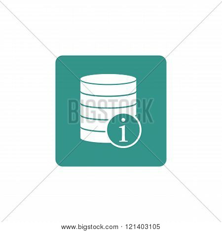 Database-info Icon, On Green Rectangle Background, White Outline