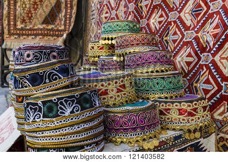 Traditional hats with hand embroidered Azerbaijan colored cultures