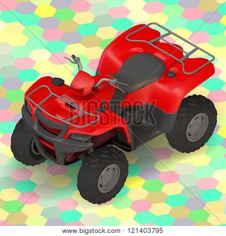quad bike ATV isometric vector illustration.