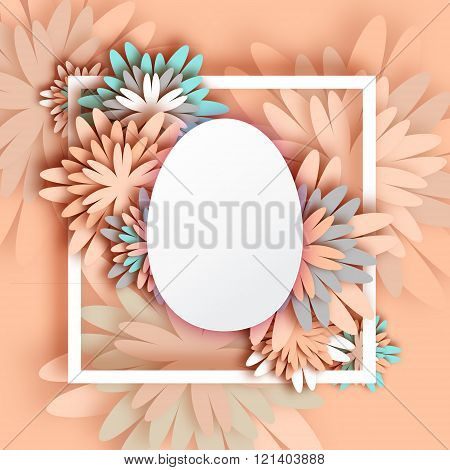 Abstract Pastel Greeting card - Happy Easter Day - Spring Easter Egg.
