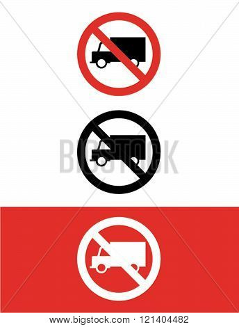 Vector 'No Trucks Allowed' Icon Set in Colour, Black and Reverse