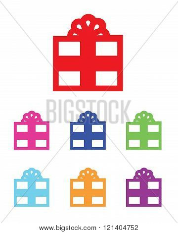 A collection of simple colourful present graphics