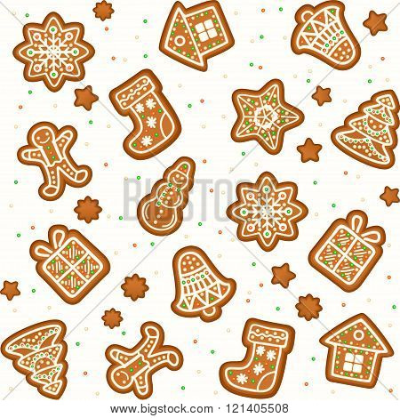 Seamless Pattern With Gingerbread Christmas Cookies Decorated Icing. Holiday Cookie
