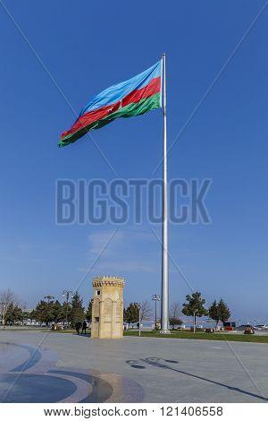 State flag of Azerbaijan on the boulevard in Baku.Azerbaijan