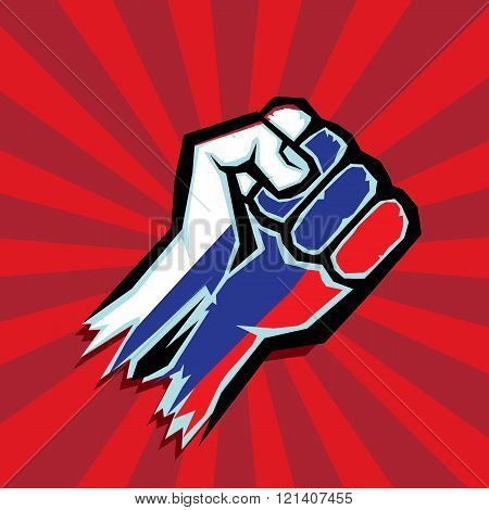 vector fist icon. fist colored in Russian flag