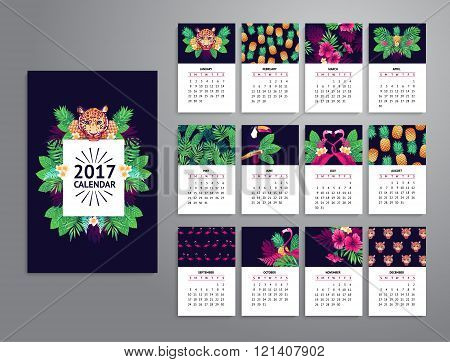 Tropical printable calendar 2017.