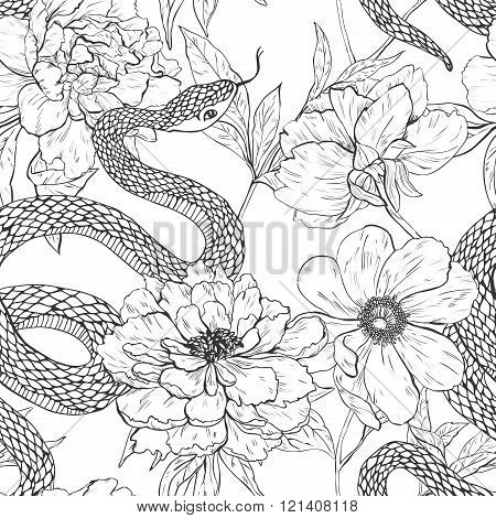 Snakes and flowers seamless pattern.