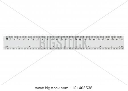 White Transparent Ruler, Isolated On White, with clipping path