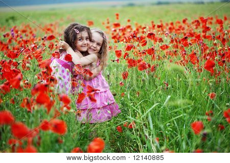 Cute children in poppy field