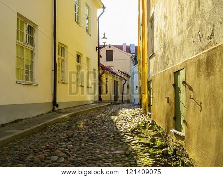 Small Street In The Old Town Early In The Morning