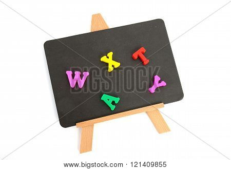 small blackboard with magnetic colorful letters, isolated white