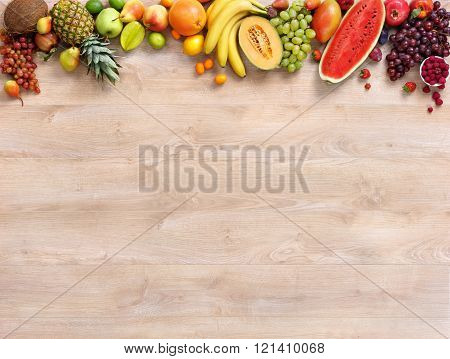 Healthy fruits background