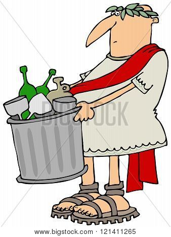Roman man taking out the garbage