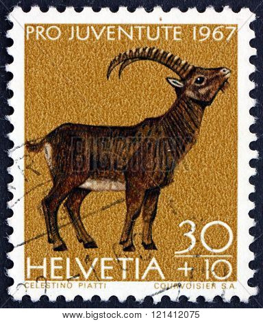Postage Stamp Switzerland 1967 Alpine Ibex, Wild Goat