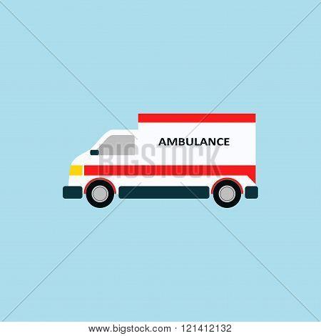 Vector icon ambulance car isolated. Emergency vehicle in flat style. Urgency sign