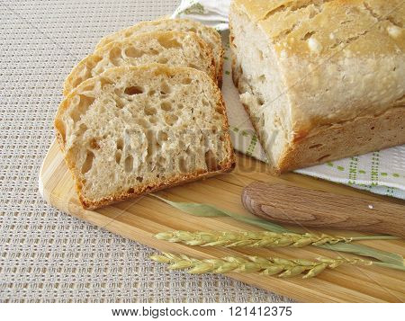 Sliced white bread with spelt flour from loaf pan
