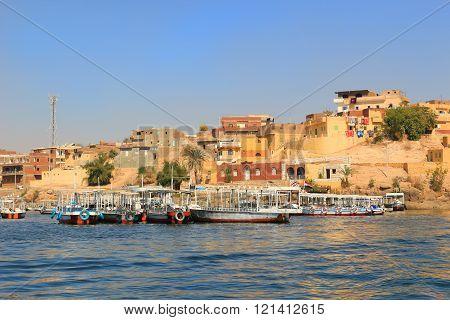 Boats Along The Shore Of The Nile River, Egypt