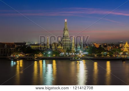 Twilight at Arun temple river front