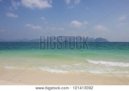 View Of Cliffs  Railay Beach From Beach At Poda Island, Krabi Province, Andaman Sea, South Of Thaila