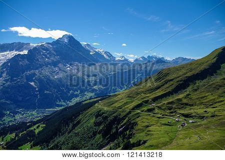 Sunny Day View To The Mountains Vally From Top Of Mannlichen (jungfrau Region, Bern, Switzerland)