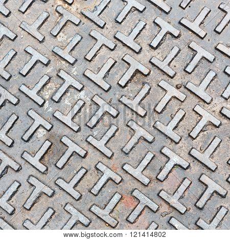 Steel Sewer Lid Texture