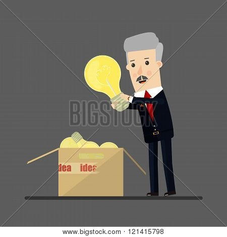 Lucky businessman has an idea. Business concept cartoon illustration