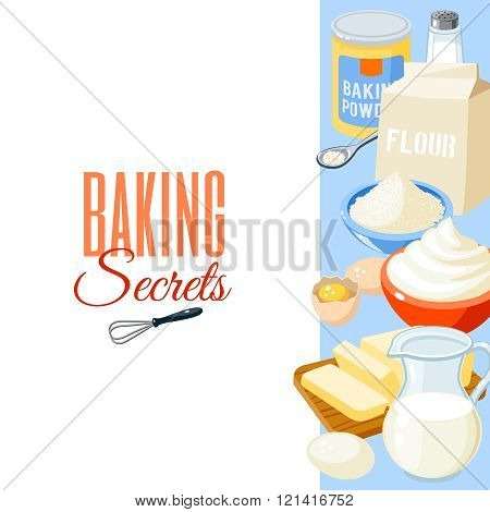 Background with cartoon food: baking ingredients - flour, eggs, butter, salt, whipped cream, milk. V