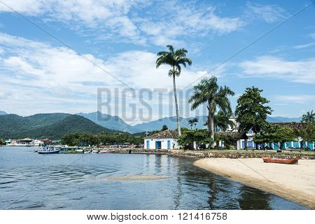 Tourist Boats Waiting For Tourists In Paraty, State Rio De Janeiro, Brazil