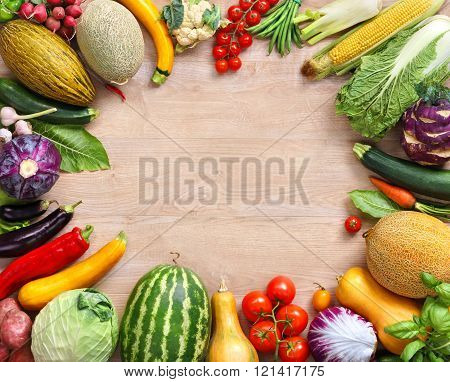 Healthy food on wooden table.