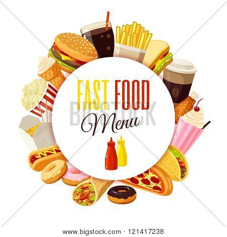 'Fast food menu' label with hamburger, french fries, coffee, sandwich, popcorn, ice cream, pizza, ta