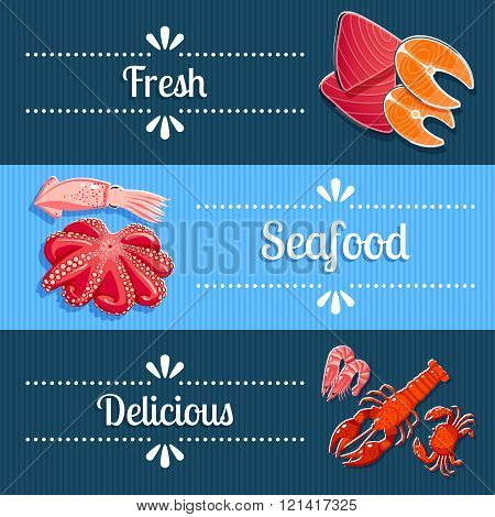 Set of 3 horizontal seafood banners with lobster, shrimps, tuna, salmon and so. Vector illustration,