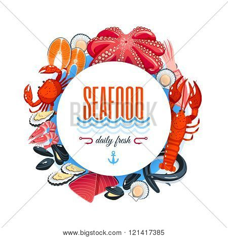Sea food label with tuna, salmon, clams, crab, lobster and so. Vector illustration, isolated on whit